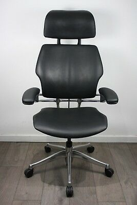 UK DELIVERY | Humanscale Freedom Headrest Chair | Black Leather | Polished Frame