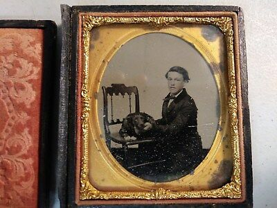 Ambrotype Young Man With Dog On Chair- 1/6 plate