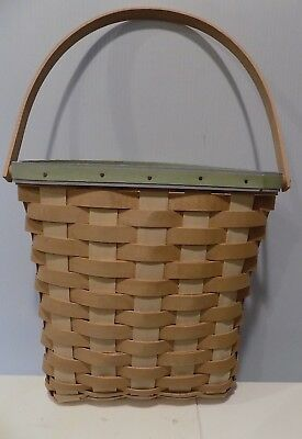 Longaberger Basket Handmade In The U.S.A. With Handle Brown With Green Blue Top