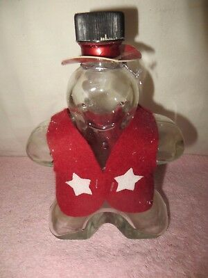 "Heavy Glass Snowman Figural Bottle -- 8"" Tall x 5.5"" Wide"