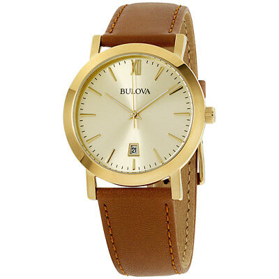 Bulova Classic Gold Dial Leather Strap Men's Watch 97B135