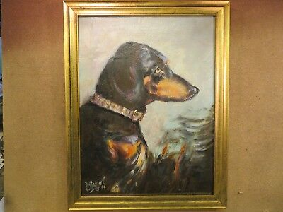 Vintage Dachshund dog portrait.Fine  oil painting on canvas by Paui Stainforth