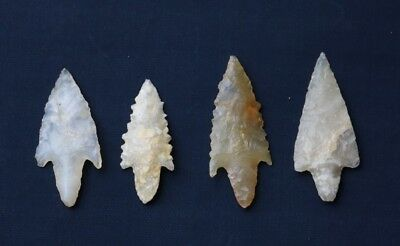 Group of 3 Sahara Neolithic Stemmed Points - Translucent - Authentic