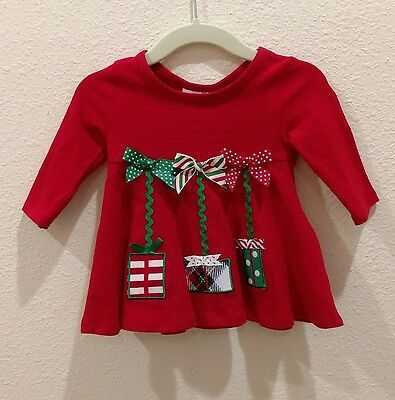 009aee37f09b New BONNIE BABY Size 3-6 Christmas Dress Bows Rick Rack Red & Green