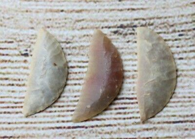 Group of 3 Sahara Neolithic Crescents - Authentic