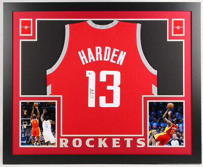 ba615ec4613 James Harden Signed Houston Rockets 35x43 Custom Framed Jersey (Beckett COA)