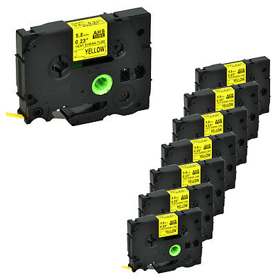 8PK HSe611 Heat Shrink Tubes Black on Yellow Label Tape for Brother 5.8mm PTE500