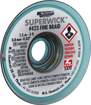 """MG Chemicals 423 (#1) 5 Foot Roll of 0.030"""" (0.8mm) Fine Braid Solder Wick"""