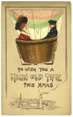Novelty folded greeting card. Couple in Hot Air Balloon. Hinged illustration