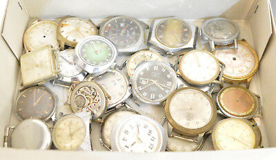 Big Lot with +20 Vintage Men´s Watches Watchmakers Watch Parts Scrap or Repair