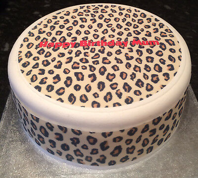 Personalised Leopard Print Pattern pre-cut Edible Icing Cake Topper or Ribbon