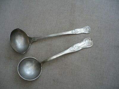 2 large silver plate ladles FB Rogers large utter quality Kings pattern