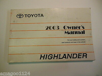 2003 Toyota Highlander Owners Manual Owner S