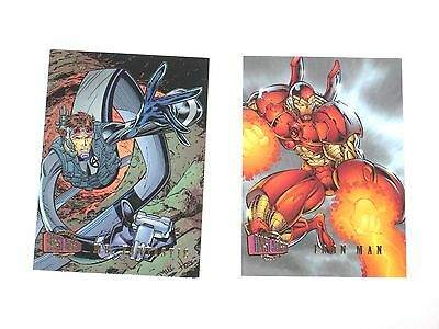 1996 Marvel Fleer Ultra Onslaught Promo Card Set Iron Man Mr Fantastic Promo2