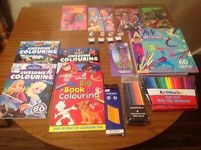 Job Lot Of Childrens Colouring Books,stickers,pencils,rubbers,sketch Pads