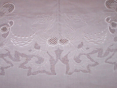 EXQUISITE VINTAGE LINEN TABLECLOTH, HAND WHITEWORK, DRAWN WORK, 8 NAPKINS, c1930