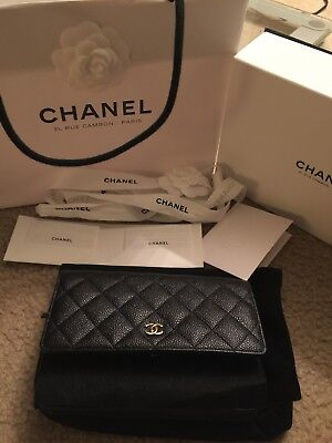 331866651ffb NEW CHANEL WOC Black Caviar Quilted Gold Hardware Wallet On Chain ...
