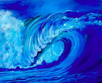 "Artist Hawaii North Shore Wave Oahu 16""x20"" Original Oil Painting,Signed"