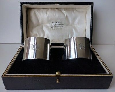 Cased Pair Of Sterling Silver Napkin Rings Birmingham 1924 TERRY & CO Manchester
