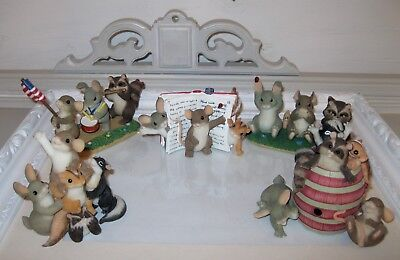Charming Tails LOT of 5 Figures Mouse With & Animal Friends Story Barrel Free