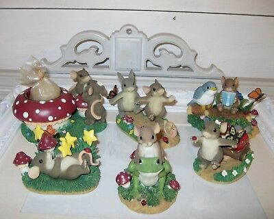 Charming Tails LOT of 6 Figures Mouse With & Animal Friends Spring Mushroom