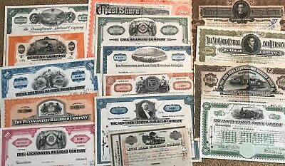 Mixed Lot of 15 Different Railroad Stock Certificates and Bonds.