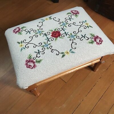 Vintage Needlepoint Footstool Floral Flowers Hand Stitched