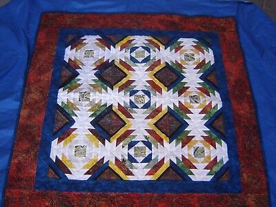 New Handmade patchwork Quilted Quilt Throw Blanket 41x41 Wall Hanging