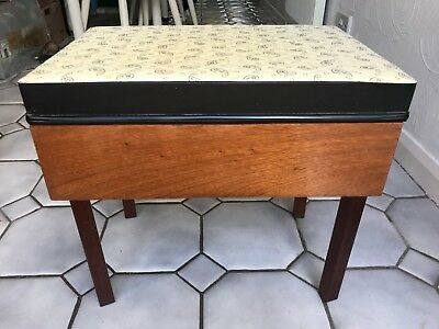 Retro Vintage 60's Teak Storage Stool, Sewing Box, Original Paisley Print Top.