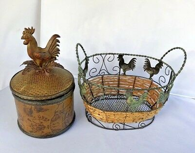 Vintage Metal Rooster Topper Round Container Coffee Tea Candy Bonus Wire Basket