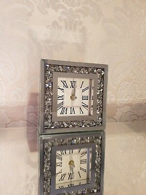 Crushed Diamond Mirrored Table Mantle Clock