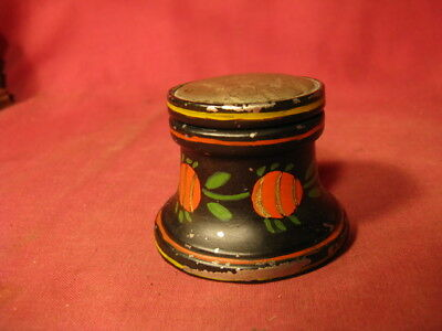 Rare 19th C American Paint Decorated Toleware Inkwell