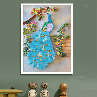 DIY Ribbon Embroidery Peacock Painting Kit Cross Stitch for Wall Decoration