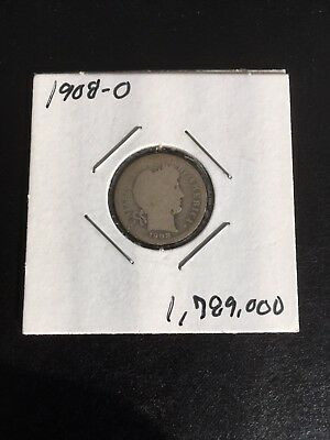 1908-O Barber Silver Dime * Better Date * Low Mintage * 1,789,000 * Great Coin