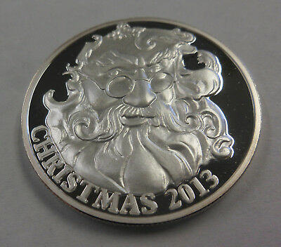2013 CHRISTMAS 1 Ounce Oz Silver .999 Holiday ART Round SANTA w Eyeglasses