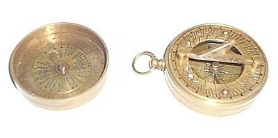 old COMPASS / SUNDIAL -  comm'tive 1952 QE2  all BRASS unpolished, British made