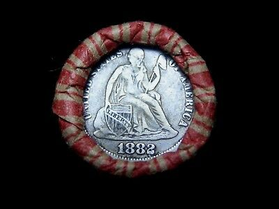 Crimped Shotgun Roll w/ 1882 Seated Liberty Dime & UNC Indian Head Showing!