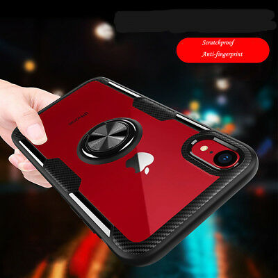 For iPhone X XS XR Max 8 7 Magnetic Ring Holder Shockproof TPU Armor Case Cover