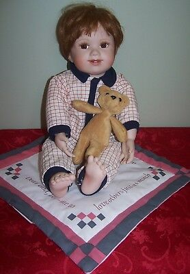 "Vintage Ashton Drake ""john"" In Porcelain With Rug & Bear - Repaired Finger"