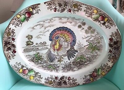 Vintage Antique LARGE Ironstone Transferware NSP HAND DECORATED Turkey Platter