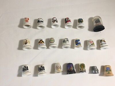 Lot of 20 Vintage Thimbles Ceramic, Wood, Metal Of States And Attractions.