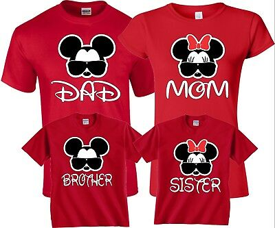 Mom And Dad Mickey Minnie Glasses Disney Vacation matching Family cute T-Shirts