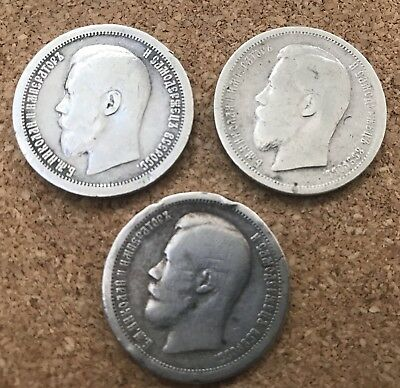 Russia lot of 3 Silver coins 1897 Nicholas2