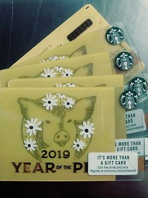 Lot of 5- Rare Starbucks Chinese New Year 2019 Gift Card  Year of The Pig