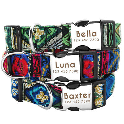 Nylon Personalized Dog Collar with Heavy Duty Nameplate Border Collie Labrador