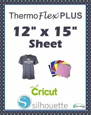 "Thermoflex Plus IRON-ON Heat Transfer Vinyl 12"" x 15"" Sheet -- Cricut/Silhouette"