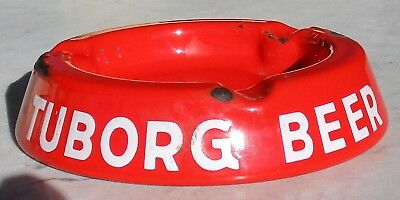 Vintage Tuborg Beer Red Porcelain Ash Tray Made In Denmark