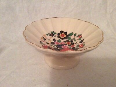 Sadler Pedestal Dish/bowl Trinket/nuts/nibbles Pretty Floral Design & Gold Edge