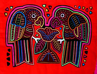 Kuna Indian Art. Hand Stitch. PARROTS WITH A FLOWER -469. Mola Art of Panama.