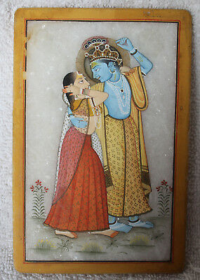 Antique Indian Miniature Painting Marble Vintage India Krishna Radha Alabaster